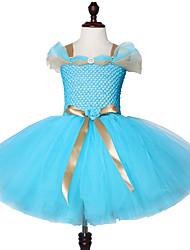 お買い得  -子供 / 幼児 女の子 甘い / かわいいスタイル ソリッド メッシュ ノースリーブ 膝丈 スパンデックス ドレス