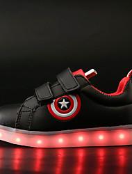 billige -Drenge / Pige Sko PU Forår / Efterår Lysende Sko Sneakers Gang LED for Børn Hvid / Sort