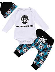 tanie -Dziecko Dla chłopców Aktywny Nadruk Długi rękaw Krótkie Bawełna / Spandeks Komplet odzieży Niebieski