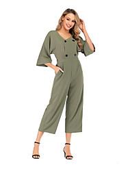 povoljno -Žene Ulični šik Red Sive boje Svijetlo zelena Jumpsuits, Jednobojni XL XXL XXXL