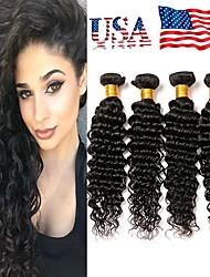 billige -4 pakker Brasiliansk hår Dyb Bølge Remy Menneskehår Menneskehår, Bølget Bundle Hair Én Pack Solution 8-28inch Naturlig Farve Menneskehår Vævninger Vandfald Lugtfri Blød Menneskehår Extensions Dame