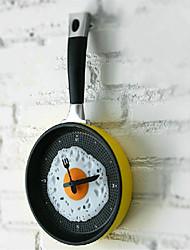 cheap -Wall Clock Chic Unique Fried Egg Pan Shape Cute Clock