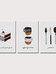tanie -Nadruk Zwijane wydruki na płótnie - Jedzenie Nowoczesny Klasyczny Trzy panele