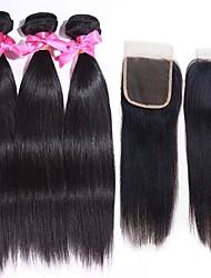 Недорогие -3 комплекта с закрытием Бразильские волосы Прямой 100% Remy Hair Weave Bundles Человека ткет Волосы Пучок волос One Pack Solution 8-20 дюймовый Естественный цвет Ткет человеческих волос