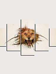 hesapli -Boyama Haddelenmiş Kanvas Tablolar - Soyut Hayvanlar Klasik Modern Beş Panelli