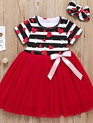 お買い得  -幼児 女の子 ストライプ ドレス ルビーレッド