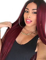 cheap -Synthetic Wig Curly Style Middle Part Capless Wig Red Dark Red Synthetic Hair 22 inch Women's Women Red Wig Long Natural Wigs
