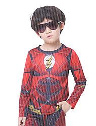 preiswerte -Superheld Cosplay Kostüme Umhang Kinder Jungen Cosplay Halloween Halloween Karneval Maskerade Fest / Feiertage Polyester Rote Karneval Kostüme Print