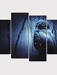 Недорогие -С картинкой Роликовые холсты - Абстракция Животные Классика Modern 4 панели