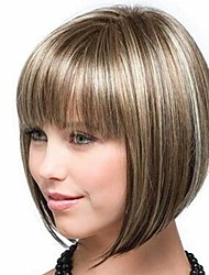 cheap -Synthetic Wig / Bangs kinky Straight Style Bob Capless Wig Golden Light golden Synthetic Hair 14 inch Women's Fashionable Design / Smooth / Women Golden Wig Short Natural Wigs