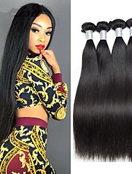 billige -4 pakker Brasiliansk hår Naturlig lige Remy Menneskehår Menneskehår, Bølget Udvidelse Bundle Hair 8-28inch Naturlig Farve Menneskehår Vævninger Cosplay Blød Dans Menneskehår Extensions Dame