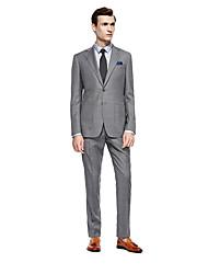 お買い得  -グレー 市松 スタンダードフィット ウール スーツ - ノッチドラペル シングルブレスト 二つボタン