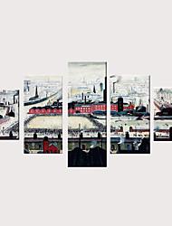 billige -Trykk Valset lerretskunst Strukket Lerret Trykk - Arkitektur Moderne Klassisk Moderne Fem Paneler