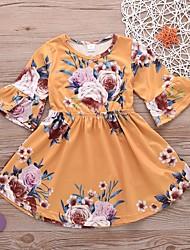 זול -שמלה חצי שרוול פרחוני בנות תִינוֹק