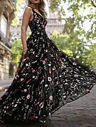 preiswerte -A-Linie V-Ausschnitt Boden-Länge Organza / Tüll Kleid mit Stickerei / Muster / Druck durch LAN TING Express