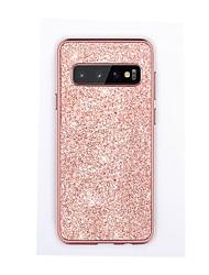 olcso -BENTOBEN Case Kompatibilitás Samsung Galaxy Galaxy S10 Galvanizálás / Csillogó Fekete tok Egyszínű / Csillogó Kemény PU bőr / TPU / Szénrost mert Galaxy S10