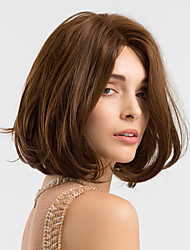 cheap -Synthetic Wig Natural Wave Style Bob Capless Wig Brown Brown Synthetic Hair 14 inch Women's Synthetic / Comfortable / African American Wig Brown Wig Medium Length Cosplay Wig