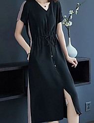 billiga -kvinnors midi t-shirt klänning v nack svart m l xl xxl