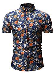 billige -Herre - Blomstret Skjorte Sort XL