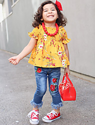 お買い得  -子供 / 幼児 女の子 活発的 / ベーシック フラワー タッセル / プリント 半袖 レギュラー コットン / スパンデックス アンサンブル オレンジ