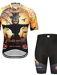 お買い得  -MUBODO 男性用 半袖 ショーツ付きサイクリングジャージー ブラック / イエロー バイク スーツウェア 高通気性 速乾性 反射性ストリップ スポーツ メッシュ マウンテンサイクリング ロードバイク 衣類 / 伸縮性あり