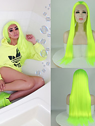 cheap -Synthetic Wig / Synthetic Lace Front Wig Straight / Matte Jenner Style Free Part Lace Front Wig Green fluorescent green Synthetic Hair 24inch Women's Classic / Synthetic / Fashion Green Wig Long