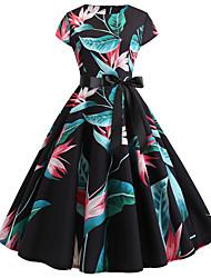 hesapli -Kadın's Temel A Şekilli Elbise - Zıt Renkli Diz üstü