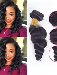 Недорогие -6 Связок Бразильские волосы Свободные волны Необработанные натуральные волосы Человека ткет Волосы Пучок волос One Pack Solution 8-28 дюймовый Естественный цвет Ткет человеческих волос