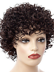 cheap -Synthetic Wig / Bangs Curly Style Free Part Capless Wig Brown Brown / Burgundy Synthetic Hair 14 inch Women's Women / Synthetic / For Black Women Brown Wig Short Natural Wigs
