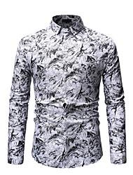 お買い得  -男性用 シャツ 幾何学模様 ブルー XL