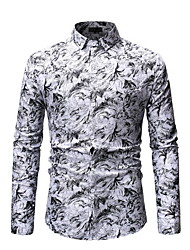 baratos -Homens Camisa Social Geométrica Azul XL