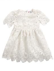 hesapli -Bebek Genç Kız Actif Solid Kısa Kollu Pamuklu / Splandeks Elbise Beyaz