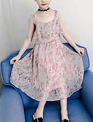 お買い得  -子供 女の子 かわいいスタイル ボヘミアン フラワー プリント ノースリーブ ポリエステル ドレス ピンク