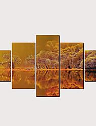 billige -Trykk Valset lerretskunst - Abstrakt Landskap Klassisk Moderne Fem Paneler