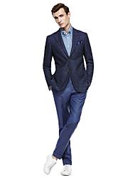 abordables -Bleu Foncé / Gris foncé / Marine foncé Couleur Pleine Coupe Standard Costume - Cranté Droit 2 boutons