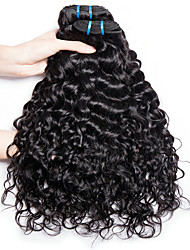 cheap -4 Bundles Indian Hair Water Wave Remy Human Hair Unprocessed Human Hair Natural Color Hair Weaves / Hair Bulk Bundle Hair Human Hair Extensions 8-28inch Natural Color Human Hair Weaves Odor Free Cute