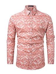お買い得  -男性用 シャツ フラワー ピンク L