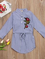 hesapli -Çocuklar / Toddler Genç Kız Actif / Temel Çizgili / Çiçekli Nakış / Desen Uzun Kollu Diz-boyu Pamuklu / Polyester Elbise Açık Mavi