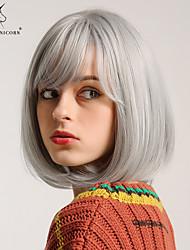 Χαμηλού Κόστους -Συνθετικές Περούκες Κατσαρά Ίσια / Φυσικό ευθεία Στυλ Κούρεμα καρέ Χωρίς κάλυμμα Περούκα Ασημί Ασημί Άσπρο Συνθετικά μαλλιά 12 inch Γυναικεία Χωρίς Οσμή / Μοδάτο Σχέδιο / συνθετικός Ασημί Περούκα
