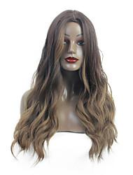 abordables -Pelucas sintéticas / Ombre Rizado / Ondulado Natural Estilo Parte media Sin Tapa Peluca Marrón Medium Brown / Blonde de la fresa Pelo sintético 26 pulgada Mujer sintético / Moda / Parte central de la
