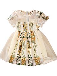 זול -שמלה שרוולים קצרים אחיד / פרחוני בנות ילדים / פעוטות