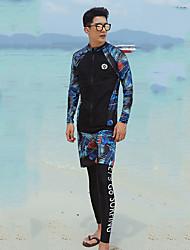 halpa -JIAAO Miesten Skin-tyyppinen märkäpuku Sukelluspuvut Pidä lämpimänä UV-aurinkosuojaus Full Body Etuvetoketju 3-osainen - Uinti Sukellus Vesiurheilu Patchwork Syksy Kevät Kesä / Elastinen