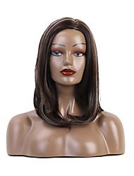 halpa -Synteettiset peruukit / Ombre Kinky Straight Tyyli Sivuosa Suojuksettomat Peruukki Ruskea Ombre Color Synteettiset hiukset 18 inch Naisten synteettinen / Muoti / Mukava Ruskea / Ombre Peruukki