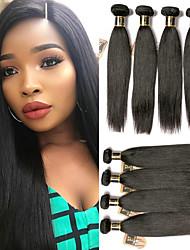 olcso -6 csomag Brazil haj Egyenes 100% Remy hajszövési csomó Az emberi haj sző Egy Pack Solution 8-28 hüvelyk Természetes szín Emberi haj sző Szagmentes Női Vastag Human Hair Extensions Női