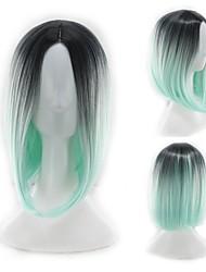 levne -Syntetické paruky Rovné, bláznivé Styl Střední část Bez krytky Paruka Zelená Černá / zelená Umělé vlasy 12 inch Dámské Zářící barvy Zelená Paruka Dlouhý Přírodní paruka