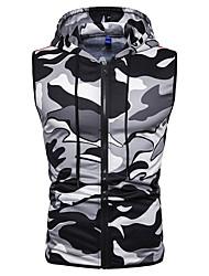 voordelige -Heren Dagelijks Standaard Lente & Herfst Normaal Vest, Ruitjes / camouflage V-hals Mouwloos Spandex Wit / Rood / Leger Groen XL / XXL / XXXL