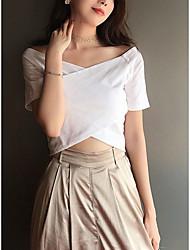 levne -Dámské - Jednobarevné Tričko Bílá L