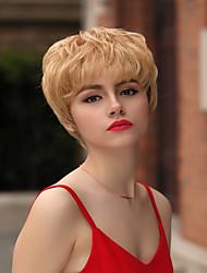 billige -Human Hair Capless Parykker Menneskehår Naturligt, bølget hår / Naturlig lige Pixie frisure / Frisure i lag / Assymetrisk frisure Liv / Hot Salg / Natural Hairline Gyldent Kort Lågløs Paryk Dame