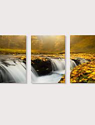Недорогие -С картинкой Отпечатки на холсте - Пейзаж Фото Modern 3 панели