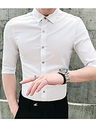 baratos -Homens Camisa Social Sólido Preto XL